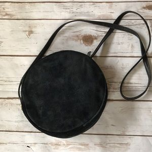 Round Suede Black Bag Talbots Small